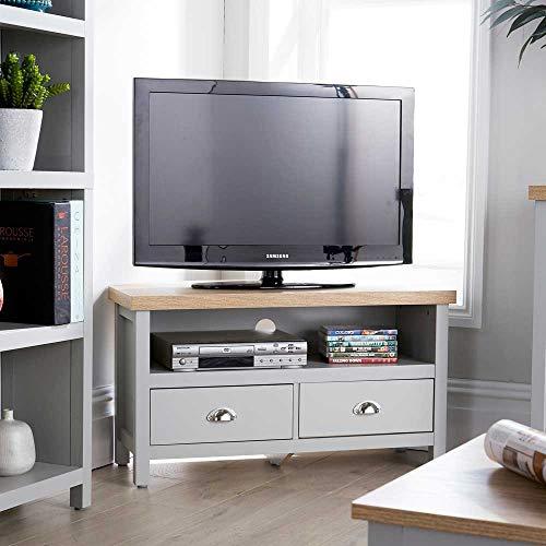 Home Source Eichenholz-Eck-TV-Ständer in Zwei Farbtönen, TV-Einheit mit Kabelkanal, MDF, Grau, 1 Schublade