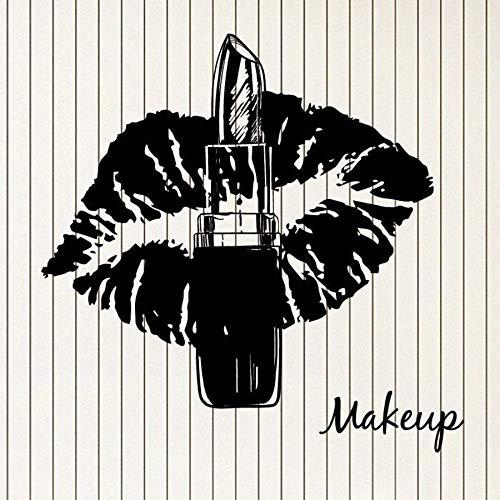ASFGA Make-up Wandtattoo Lippenstift süße Lippen Schönheitssalon Ankleidezimmer Innenraum Vinyl Glas Aufkleber Frau Kunst Wandbild Schlafzimmer Geschenk 30x30 cm