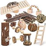 LOGEEYAR Lot de 12 Jouets à mâcher en Bois Naturel pour Petits Animaux Jouets de Hamster pour Les Soins Dentaires Cochon d'Inde Lapin Gerbille