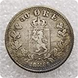 MOMOKY Copy 1874-1899 Crown&Lion 50 ORE Norway Coin-Norge Krone Antique Coin Commemorative Coins Replica Discovery Collection 1888