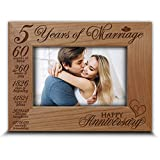 Bella Busta- Happy 5th Anniversary-5 years of marriage ,Months, Weeks, Days, Hours, Weeks, Minutes, Seconds- 5th anniversary gift- Engraved Real Wood Picture Frame (5 x 7 Horizontal)