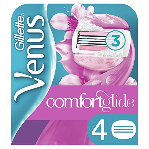 Gillette Venus ComfortGlide Spa Breeze 2 In 1 Lamette per Rasoio da Donna con Barre di Gel per Depilazione, 4 Pezzi