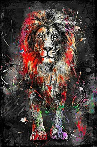 Colorido león pared arte lienzo pintura nórdica cartel y