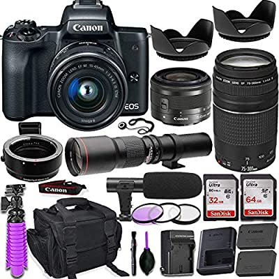 Canon EOS M50 Mirrorless Camera (Black) w/M-Adapter & Canon Lenses - EF-M 15-45mm f/3.5-6.3 is STM and EF 75-300mm f/4-5.6 III + 500mm Preset Telephoto Lens + Deluxe Travel Accessory Bundle by Canon