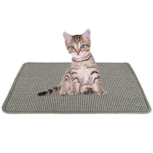 SlowTon Katzenkratzer-Matte, natürliches Sisal-gewebtes Seil-Kratzkissen für Katzenkratzkrallen und Teppichschutzmöbel, strapazierfähiger Rutschfester Boden Katze spielt schlafendes Kratzspielzeug