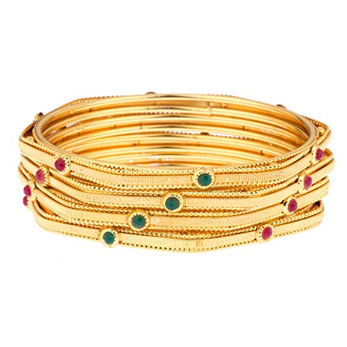 2 Pieces Efulgenz Fashion Jewelry Indian Bollywood 14 K Gold Plated Cystal Beaded Multicolor Bracelets Bangle Set for Women