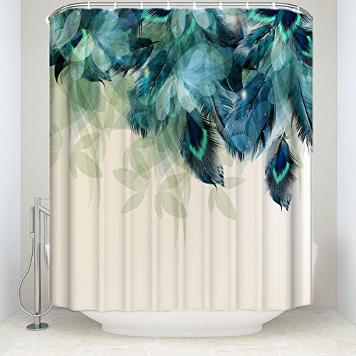 Prime Leader Watercolor Decor Shower Curtain Peacock Feather Pattern Waterproof Polyester Fabric Bathroom Shower Curtains Set with Hooks,72