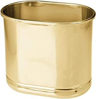 mDesign Slim Oval Metal Trash Can, Small Wastebasket, Garbage Receptacle Bin for Bathrooms, Powder Rooms, Kitchens, Home O...