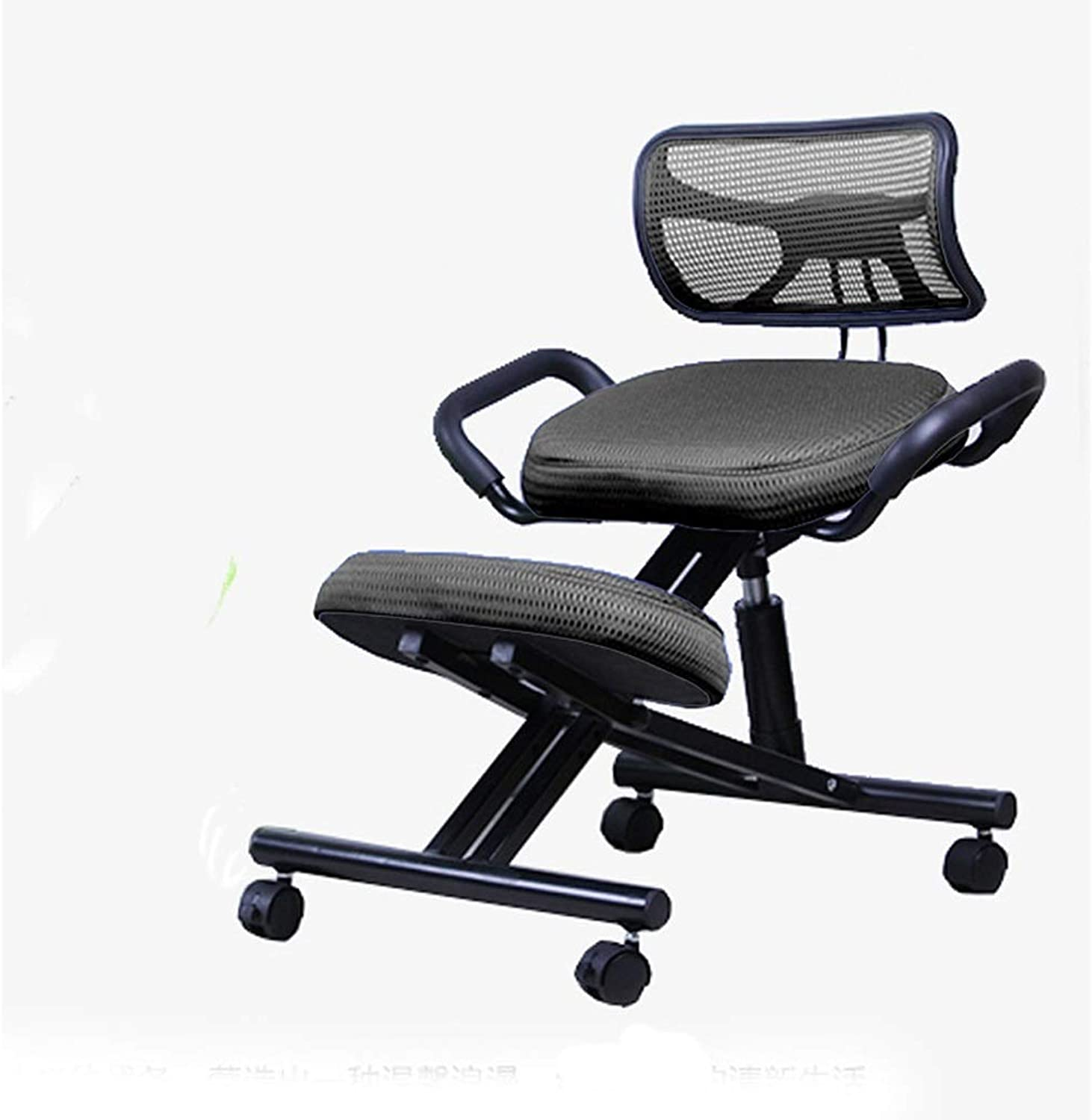 Ergonomic Posture Knee Desk Stool with Back, Kneeling Chair for Office, Adjustable Work Chair with Handles, Meditation Seat, Breathable Fabric, Kneeling Pad with Thick Memory Foam Cushion