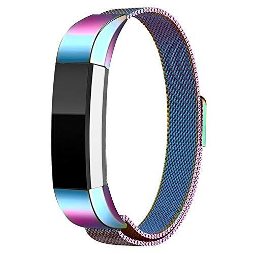 Digit.Tail Cinturino di Acciaio Inossidabile Band Cinturini di Ricambio Loop in Maglia milanese per Fitbit Alta e Fitbit Alta HR (Arcobaleno)