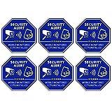 CCTV Video Surveillance Security & Mobile Monitored CCTV Installed Stickers, Door & Window Stickers, Blue Octagon-Shaped, 3.3 X 3.3 Inch Vinyl Decals - Indoor & Outdoor Use, UV Protected & Waterproof