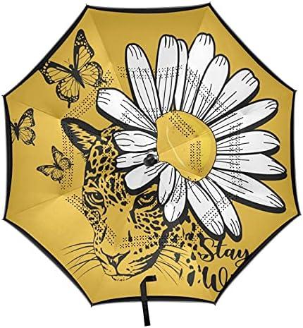xigua Daisy Columbus Mall Flower Max 67% OFF Automatic Windproof Reverse Umbrella