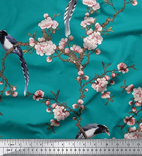 Soimoi Grüne Seide, Stoff Blumen & Paradise Whydah Vogel-Druck Stoff durch den Meter 44 Inch Breite