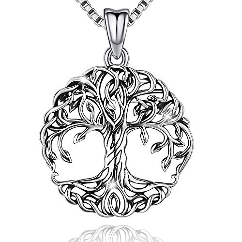 Aniu Tree of Life Necklace for Women, Family Celtic Tree Jewelry, Sterling Silver Pendant Gift