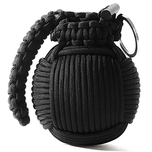 Holtzman's Survival Kit Paracord Grenade The #1 Best 48 Tool Emergency kit (Solid Black)