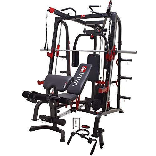 AsVIVA MS2 Stazione di forza professionale e Power Multipresse – Multi-Gym Weight Bench con lattiera, pressa per gambe, curl per gambe e panca inclinata regolabile, efficace allenamento muscolare, body building, panca per la casa