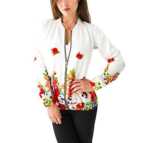 Damen Baseball Jacke, iHee 2017 Neue Frühling Blouson Mode Floral Mantel Tops Coat Bomberjacke Bikerjacke Reißverschluss Fliegerjacke Kurzjacke Mantel Outwear Tops Coat (XL, Weiß)