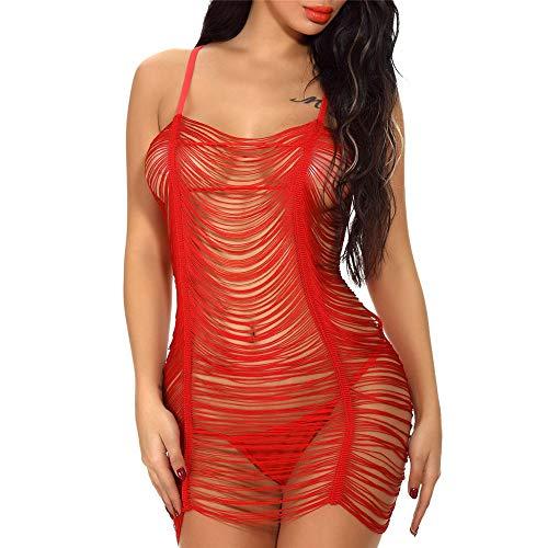 NLZQ Neckholder-Kleid Kleid Verschiedene Größen Dessous Sexy Damen Minikleid Ausschnitt Erotisches Fetisch Partykleid Exklusives Clubwear L