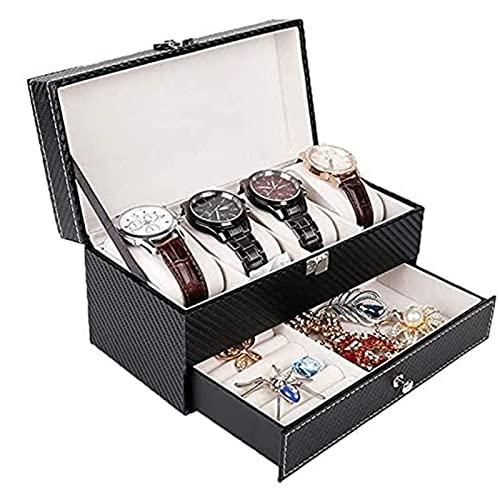 KMDJ Reloj Watch Watch Joyería Display Organizador Caja de joyería Doble Caja de joyería Lockable Mostrar Cuadro de Almacenamiento para 4 Relojes Black Watch Organizer Regalo