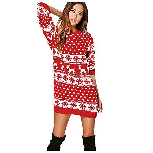 qiaoxiahe Damen Frauen Weihnachten Weihnachtskleid Eng anliegender Hüftrock Neuheiten Vintage 71s Pullover Retro Design Mode Pulli Pullover Schneeflocke Gedruckte Tops Lang Sweatshirt
