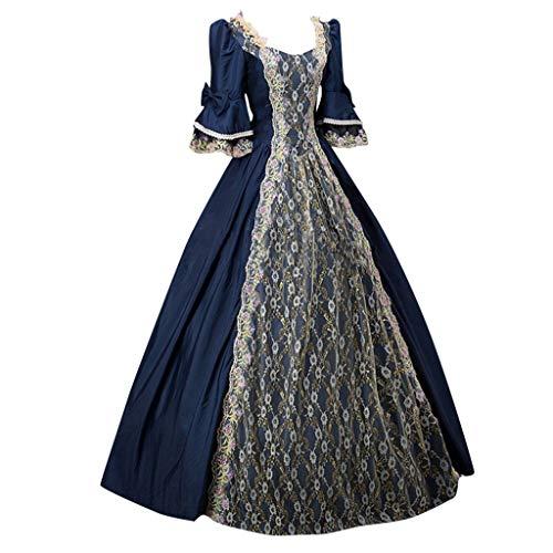 Dasongff dames lange mouwen renaissance middeleeuwse jurk Victoriaans koningin kostuum maxi-jurk rococo jurk Gothic Lolita kostuum feestelijk cosplay prinses kant jurk XXXXXL marineblauw