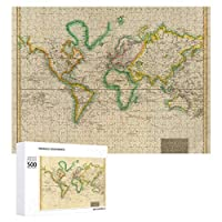 INOV 巧みな世界地図37 ジグソーパズル 木製パズル 500ピース キッズ 学習 認知 玩具 大人 ブレインティー 知育 puzzle (38 x 52 cm)