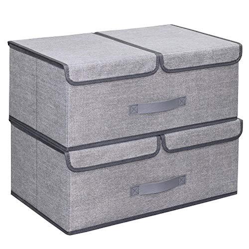 homyfort Set de 2 Cajas de Plegable de la Ropa Contenedores de Almacenamiento, Tapa Plegable y Desmontable de Doble Compartimentos, 50 x 30 x 20cm, 30L, Tela sin Tejer, Gris Lino, XDB2L2