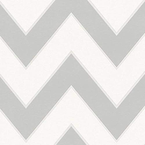 Zigzag' Geometric Designed Wallpaper in Grey and White Full Roll