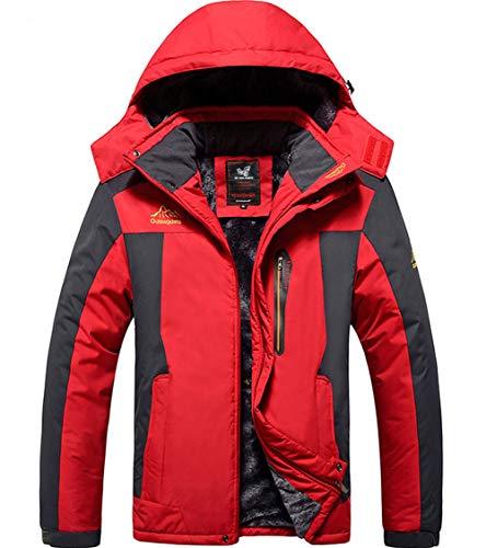 XinYangNi Mens Plus Size Winter Mountain Waterproof Jacket Snowboard Jackets Snowboarding Jacket Windproof Fleece Ski Jacket Coats Red US XL/Asia 5XL