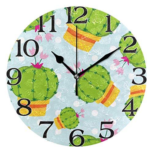 Meili Shop Decoración de Reloj de Pared de Lunares de Cactus Tropical, Reloj de Pared Redondo para Cocina, Sala de Estar, Dormitorio, baño, Oficina