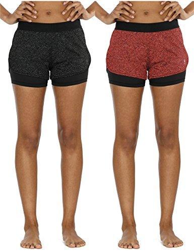 icyzone 2 in 1 Pantaloncini Sportivi da Donna per Correre Calzoncini Fitness Yoga Pantaloncini(Pacco da 2) (S, Black Heather Red Bud)