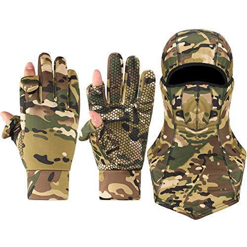 Geyoga 1 Pair Camouflage Hunting Mitten and 1 Piece Camouflage Full Face Covering Balaclava Anti-Slip Full Finger Fingerless Mitten Camo Wind-Resistant Face Covering for Outdoors Hunting Accessories