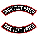 2 PCS Embroidery Custom Patch, Personalised Iron-on Patch, Vest Biker Patch, Rocker Motorcycle Patch for Jackets (Black Fabric, Red Border)