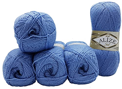 5 ovillos de lana Alize SAL SIMLI de 100 g para tejer...