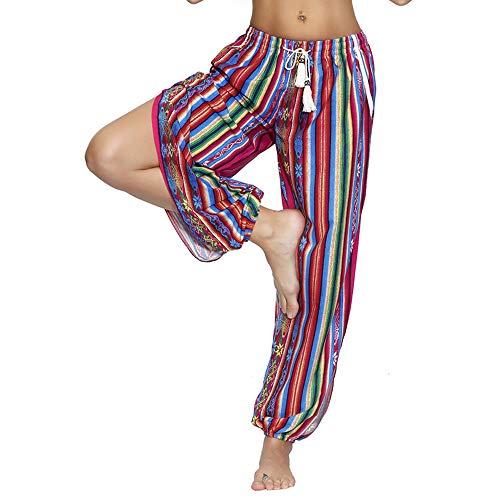 Nuofengkudu Mujer Hippies Pantalones Dividir Pata Estampados Boho Flores Verano Alta Cintura Tailandes Harem Drawstring Yoga Pants Verano Playa(Arco,X-Large)