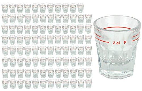 Van Well 96er Set glas voor gedistilleerde drank, met maatstrek, 2 cl, borrelglazen, hoogwaardig partyglas, glanzend