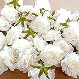 SODIAL 10 PCS Fleurs artificielles Tete 10 cm pour la Decoration de Mariage Couronne de Bricolage Boite Cadeau Floral Soie Fete Conception Fleurs (Blanc)