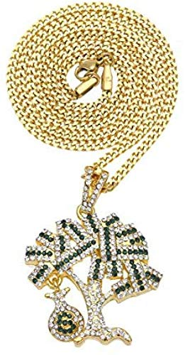 NC110 Colgante, Collar, joyería de Rap, joyería de Marca de hipopótamo, árbol de Dinero de Marea, USD, Monedero, Billete de dólar, Regalo de dólar
