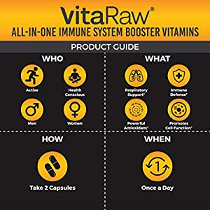 VitaRaw Immune Support Vitamins - Zinc, Elderberry, Vitamin C, Echinacea, Olive Leaf, Goldenseal | Powerful Immunity Booster Capsules for Adults | Immune System Booster Supplement #3