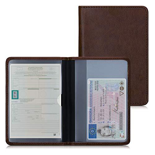 kwmobile Funda para permiso de circulación coche de cuero sintético - Con espacio para tarjetas 9.2 x 13 CM doblado - marrón oscuro