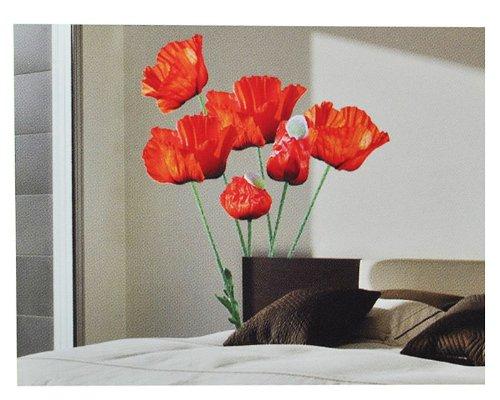 alles-meine.de GmbH XXL Wandaufkleber / Sticker - Mohnblumen mit Stengel - Mohn Blüten - selbstklebend für Kinderzimmer und Deko Wandsticker Aufkleber Blumen