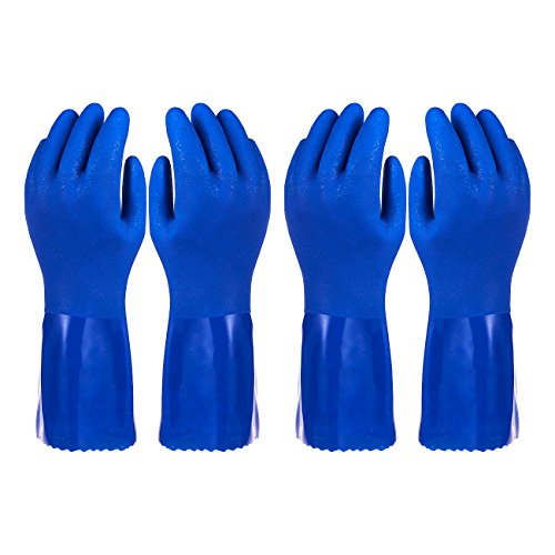 Rubber Household Gloves - Cotton Lined Dishwashing Kitchen...