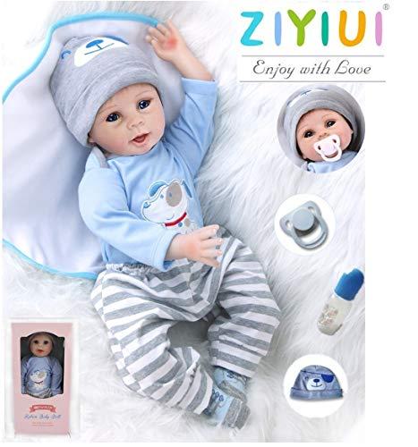 ZIYIUI 22inch 55CM schlafend Reborn Babys Junge Silikon Vinyl Puppen lebensecht Doll Boy Günstig Spielzeug