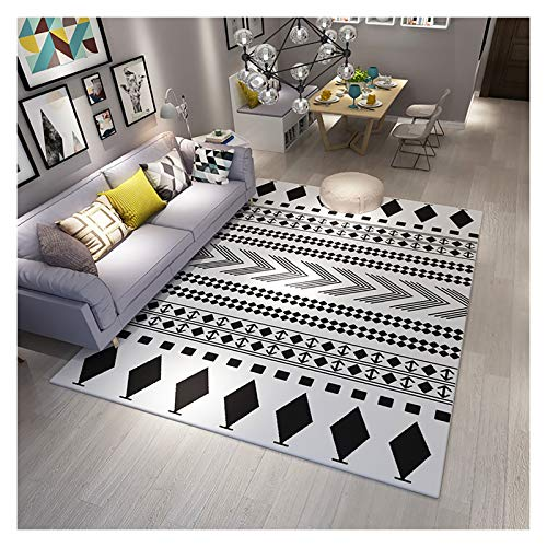 GJCC Geometric Area Rug Black and White Rugs for Living Room Carpet Soft and Comfortable Bedroom Nursery Rug Machine Washable,5