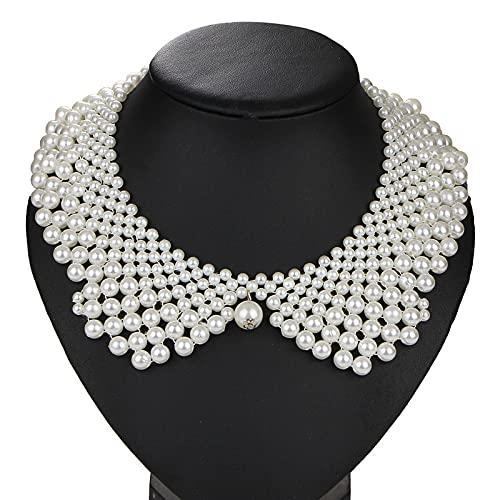XKMY Collar falso con perlas falsas y cuentas de collar desmontable para mujeres falsas para fiesta vestido de novia decorar collar falso (color: blanco)