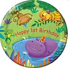 8-Count Round Paper Dinner Plates, Jungle Buddies First Birthday