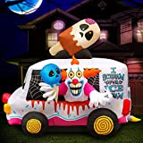Holidayana 8 ft Inflatable Halloween Clown Ice Cream Truck Yard Decoration - 8 ft Tall Lawn Decoration, Bright Internal Lights, Built-in Fan, and Included Stakes and Ropes