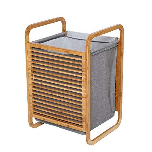 EASE Cesto de la ropa sucia Madera Ropa Cesta estantería de baño, estantería de baño con cesta extraíble Natural Gran Capacidad, Kleiderkorb:40*35*60CM(B*T*H)