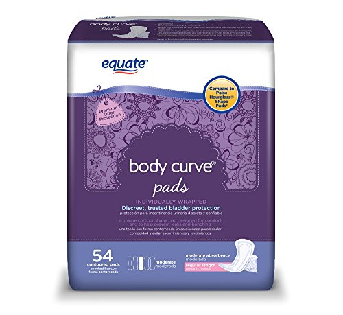 Equate Body Curve Incontinence Pads for Women, Moderate, Regular Length, 54 Ct - 2 Pack