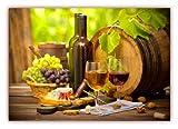 XXL Poster 100 x 70cm (F-223) Wein mit Weintrauben Weinfaß